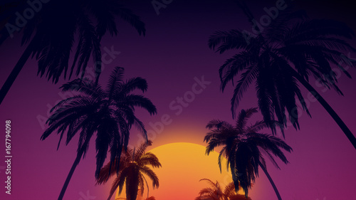 Papel de parede  80's retro style background with tropical coconut trees and sunset from 3d render