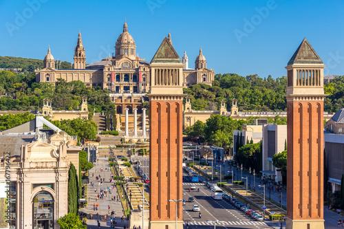 Montage in der Fensternische Barcelona Aerial view of Barcelona city and plaza de espanya,Spain