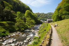 Lynmouth Devon Walk To Watersmeet Along The River England UK