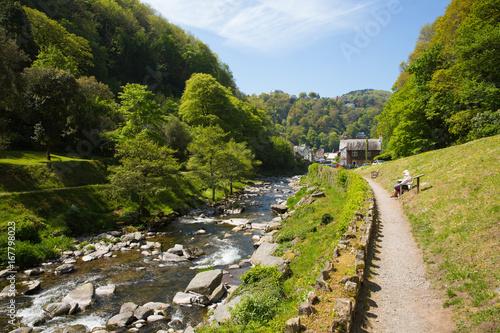 Foto auf Gartenposter Fluss Lynmouth Devon walk to Watersmeet along the river England UK