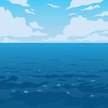Sea Or Ocean Landscape. Vector Illustration.