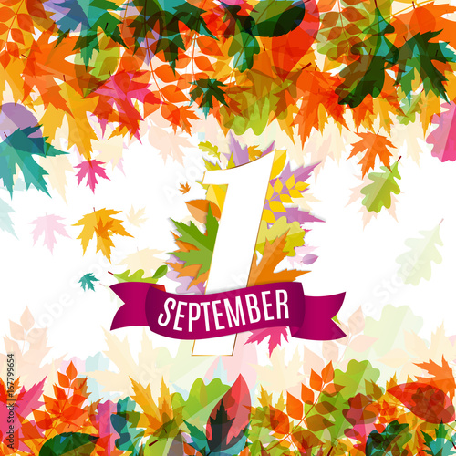 Obraz First 1 September Template Vector Illustration - fototapety do salonu