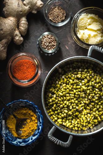 Concept of Indian cuisine with mung dal on the dark background vertical Canvas Print