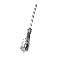 Black And White Old Twig Broom, Broomstick, Traditional Halloween Symbol, Sketch Style Vector Illustration Isolated On White Background. Hand Drawn, Sketch Style Witch Broom, Broomstick