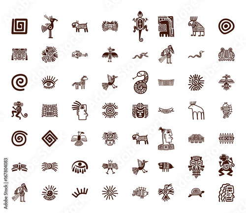 Brown Tribal Symbols Set Buy This Stock Vector And Explore Similar