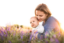 Young Mother In Nature With Ba...