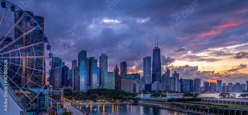 Photo sur Toile Chicago Sunset on the Lakeshore