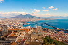 Naples Cityscape - Stunning Panorama With The Mount Vesuvius