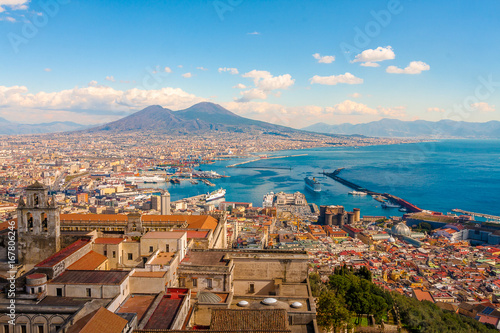 Poster Napels Naples Cityscape - Stunning panorama with the Mount Vesuvius