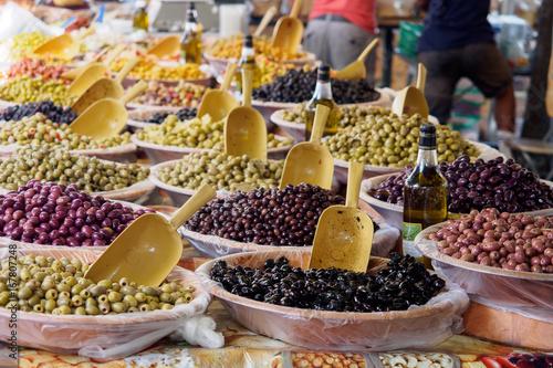 Olives at street market in Arles, France Canvas Print