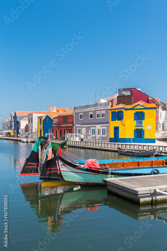 Fényképezés Portugal, Aveiro, beautiful small city on the river with colorful houses