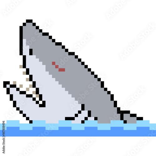 Photo sur Toile Pixel vector pixel art shark