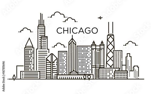 Linear banner of Chicago city. Line art. Tapéta, Fotótapéta