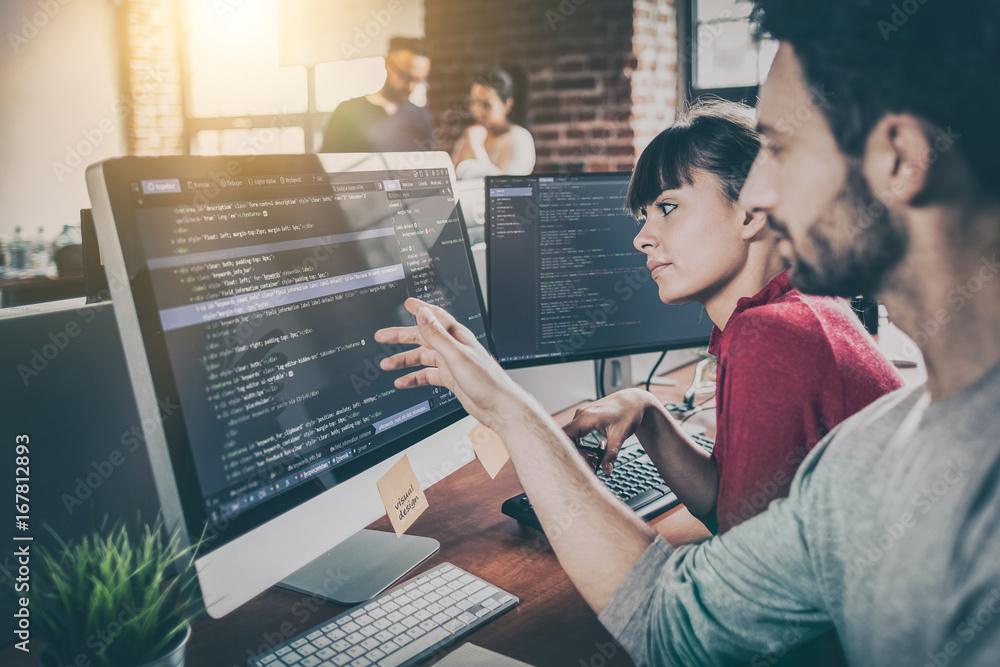 Fototapeta Website design. Developing programming and coding technologies.