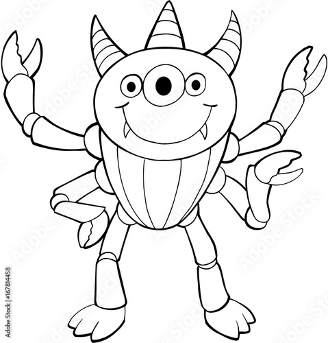 Photo sur Toile Cartoon draw Cute Halloween Alien Monster Vector Illustration Art