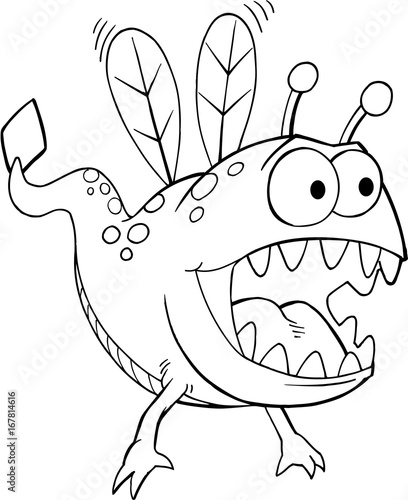 Papiers peints Cartoon draw Cute Alien Monster Vector Illustration Art