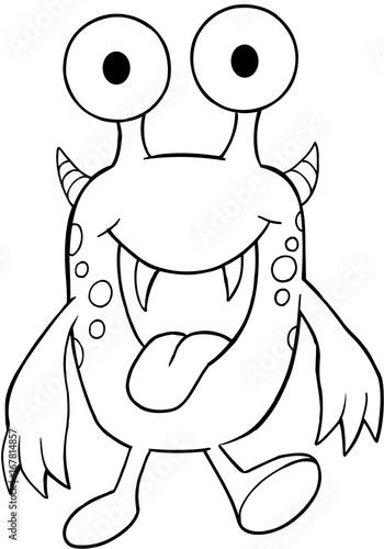 Tuinposter Cartoon draw Cute Monster Vector Illustration Art