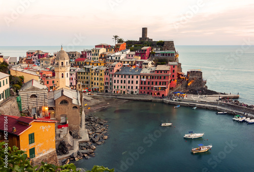 Scooter Panoramic view of Vernazza - italy, cinque terre