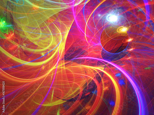 Fotobehang Fractal waves Abstract fractal background 3D rendering