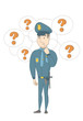 Caucasian policeman thinking. Young thinking policeman standing under question marks. Thinking policeman surrounded by question marks. Vector sketch cartoon illustration isolated on white background.