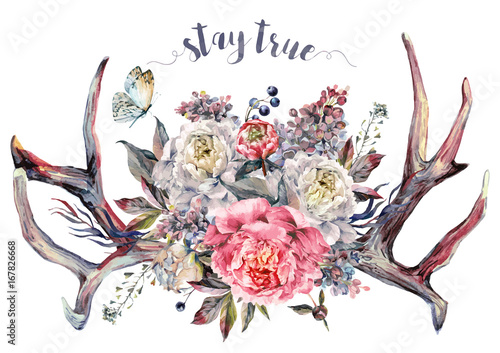Photo  Watercolor Antlers and Flowers. Boho Decoration.