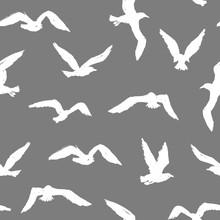 Seagulls - Grunge Seamless Pattern With White Hand-drawn Birds