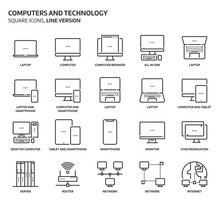 Computers And Technology, Square Icon Set