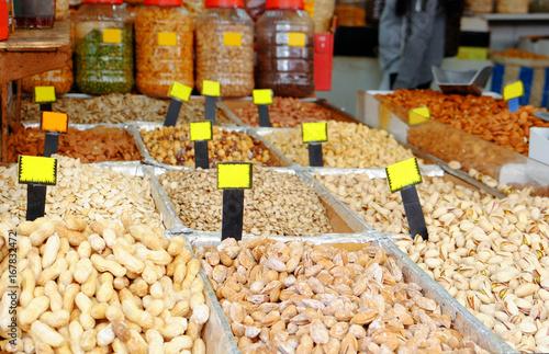 Keuken foto achterwand Different nuts at market
