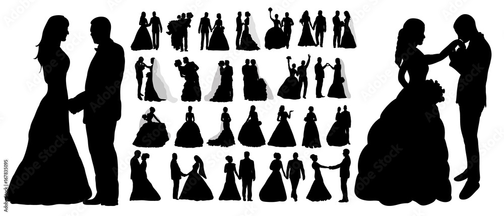 Fototapeta Vector, isolated silhouette of wedding, collection, set,
