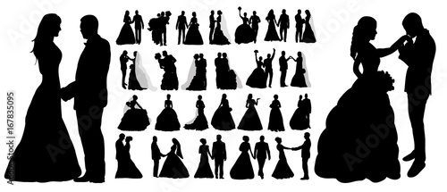 Obraz Vector, isolated silhouette of wedding, collection, set, - fototapety do salonu
