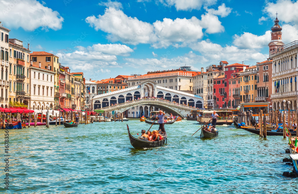 Fototapety, obrazy: Bridge Rialto on Grand canal famous landmark panoramic view