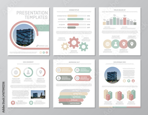 Fotografie, Obraz  Set of red, gray and green elements for multipurpose a4 presentation template slides with graphs and charts