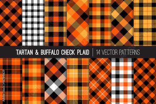 Materiał do szycia Halloween Tartan i Buffalo sprawdzanie Plaid bezszwowe wektor wzorców. Pomarańczowy, biało-czarne Flanelowa koszula tkanina tekstura. Jesień moda. Święto Dziękczynienia tła. Płytki wzorków zawarte.
