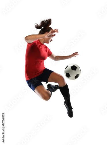 fototapeta na ścianę Woman Kicking Soccer Ball