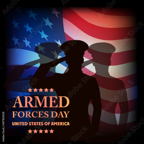 Aluminium Prints The image on old paper a card by armed forces day.