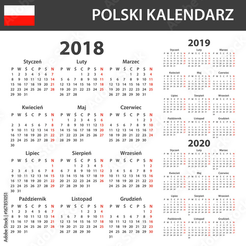 Fotografia  Polish Calendar for 2018, 2019 and 2020
