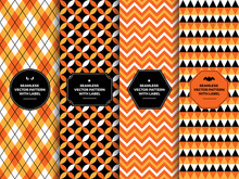 Halloween Orange, Black And White Seamless Patterns With Label Frame. Chevron, Argyle, Triangles And Quatrefoil. Copy Space For Text. Set Of Design Templates For Packaging, Gift Wrapping Or Treat Bags