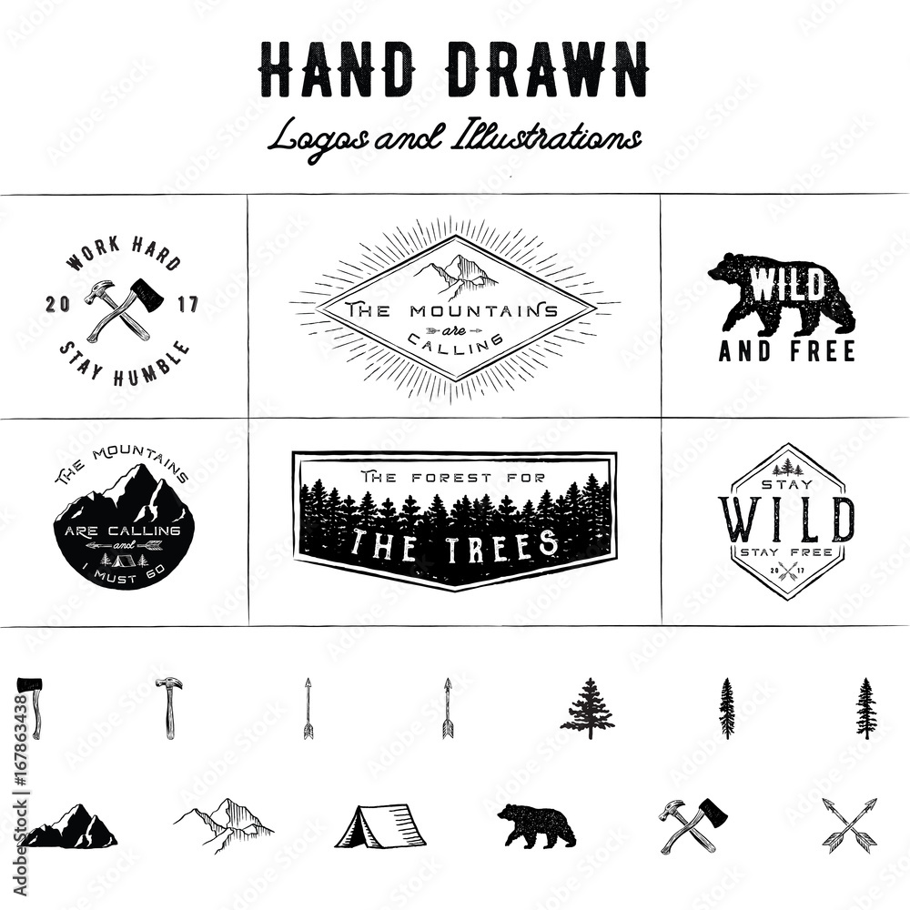 Fototapety, obrazy: Rustic Logos and Illustrations