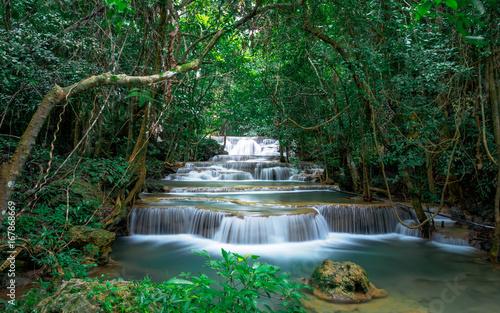 Spoed Foto op Canvas Grijze traf. Beautiful waterfall landscape in Thailand