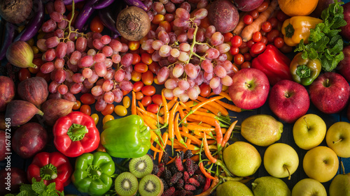 Top view of fresh fruits and vegetables organic, Different fruits and vegetables for eating healthy