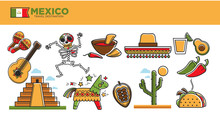 Mexico Travel Tourism Famous Landmarks And Tourist Attractions Vector Symbols Set
