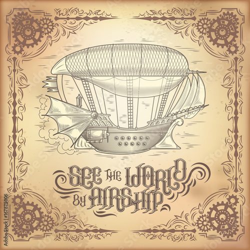 Stampa su Tela Vector steampunk poster, illustration of a fantastic wooden flying ship in the style of engraving with decorative frame of gears