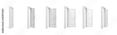 Photo 3d rendering set of white wooden doors in different stages of opening