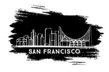 San Francisco Skyline Silhouette. Hand Drawn Sketch.