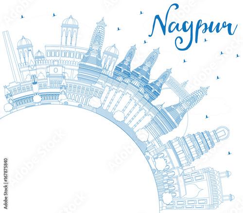 Staande foto Schilderingen Outline Nagpur Skyline with Blue Buildings and Copy Space.