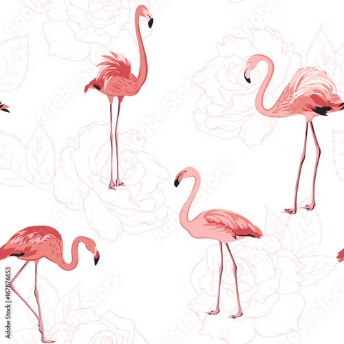 Canvas Prints Flamingo Exotic pink flamingo birds. Rose flowers bloom blossom outline background. Seamless pattern texture. Tender romantic love wedding theme. Vector design illustration.