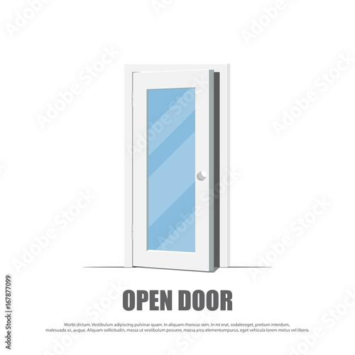 Photo Open door. White door isolated.