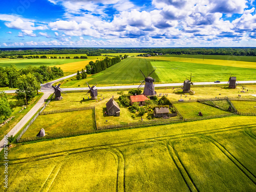 Poster Melon Saarema Island, Estonia: beautiful aerial top view of summer fields and Angla windmills in Leisi Parish