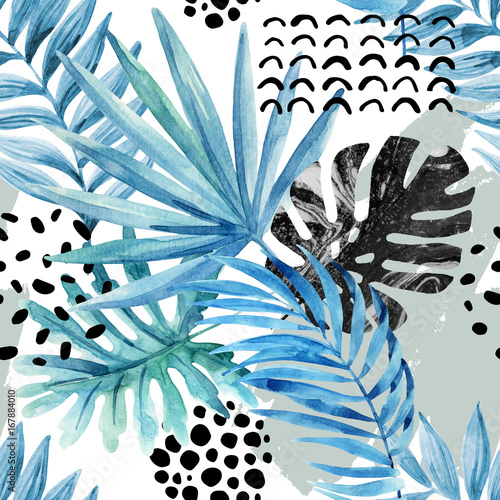 akwarela-graficzny-ilustracja-tropikalne-liscie-doodle-elementow-na-tlo-grunge
