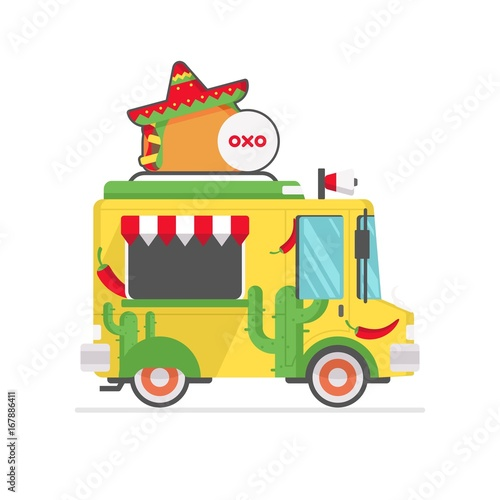 Fototapety, obrazy: mexican food truck icon vector illustration